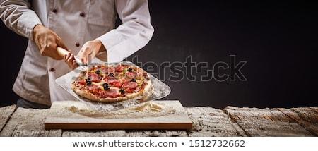 pizza · chef · houten · schil · hout · landschap - stockfoto © photography33