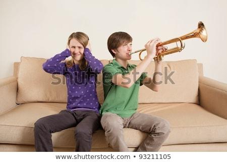 мальчика · играет · трубы · музыку · ребенка · весело - Сток-фото © sumners