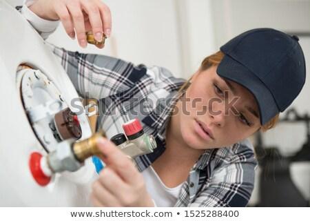 водопроводчика молодые ученик позируют девушки улыбка Сток-фото © photography33