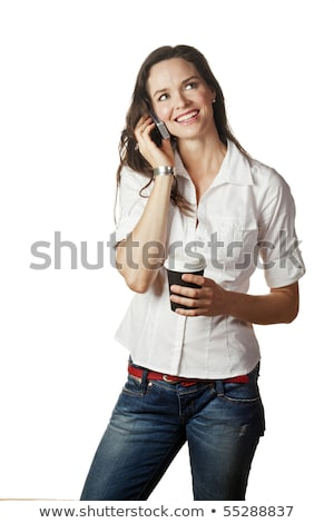 businesswoman talking on her cell and drinking coffee stock photo © photography33