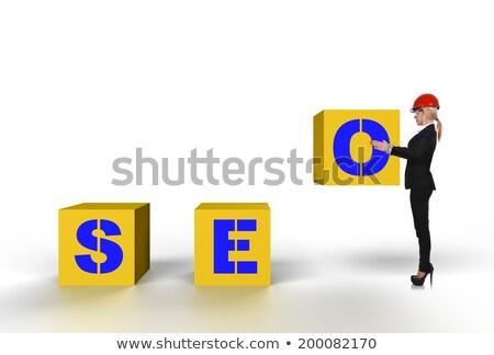 Vrouwelijke bouwvakker www teken vrouw Stockfoto © photography33