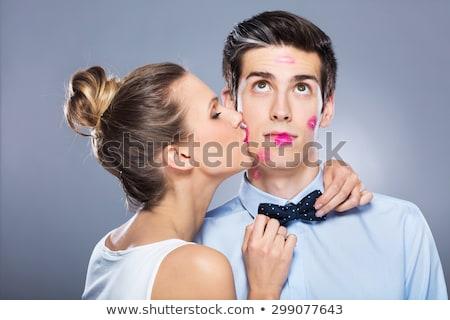 mooie · xxl · vrouw · zoenen · echtgenoot · studio - stockfoto © photography33