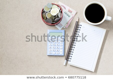 Calculator, pancil and cup of coffee stock photo © a2bb5s