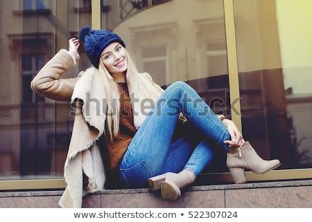 Genç güzel bir kadın kürk bot kadın mavi Stok fotoğraf © acidgrey