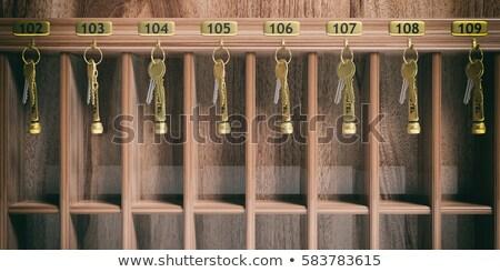 argent · clé · or · étiquette · bois · porte - photo stock © inxti