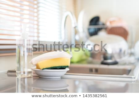 Kitchen sponges for ware washing on white Stock photo © inxti