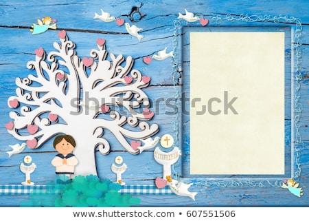 Grazie carta ragazza prima comunione calice colomba Foto d'archivio © marimorena