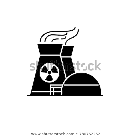 Nuclear central eléctrica icono hojas mariquita cielo Foto stock © WaD