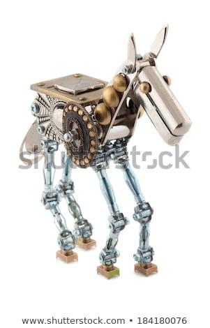 Cromo robot cavallo rendering 3d scienza bianco Foto d'archivio © AlienCat