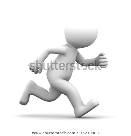 Courir 3D marionnette isolé blanche fitness Photo stock © dacasdo