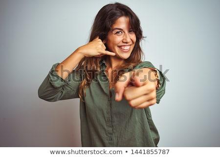 портрет · улыбаясь · молодые · бизнесмен · жест - Сток-фото © dolgachov