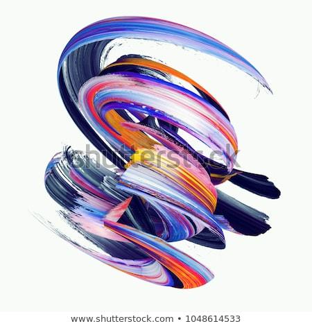 Art brush with rainbow  and white paint swirl Stock photo © Lightsource