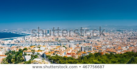 Panoramic aerial view on Marseille from mountain Stock photo © Discovod