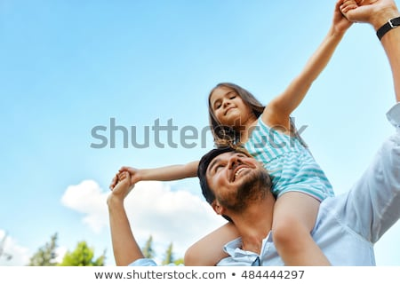 ストックフォト: 小さな · 幸せ · 父 · 娘 · 公園 · 楽しい