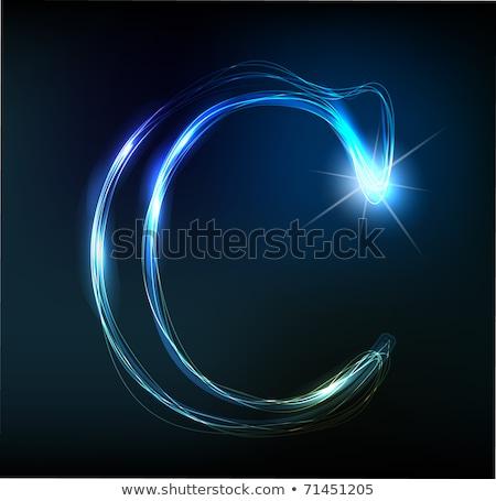 izzó · neon · betűtípus · fényes · c · betű · fekete - stock fotó © Designer_things