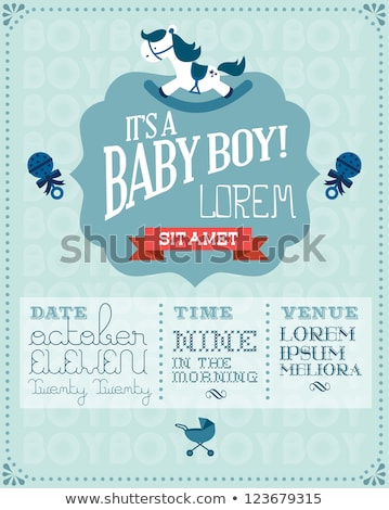 baby boy shower card with stroller stock photo © balasoiu
