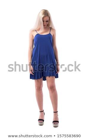 Szomorú fiatal nő elegáns talár lefelé néz fiatal Stock fotó © feedough