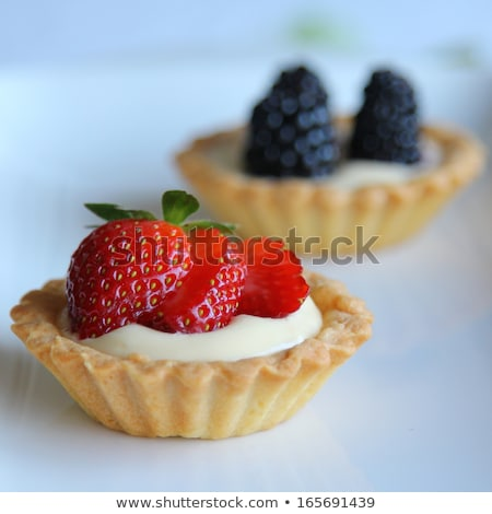 Vla taart frambozen bramen witte porselein Stockfoto © aladin66