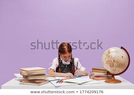 Kız kırmızı bluz ayakta kitap beyaz Stok fotoğraf © fotoatelie