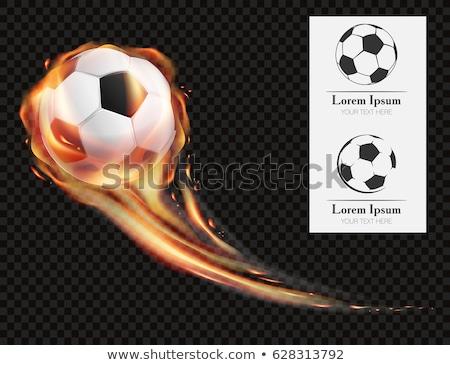Foto stock: Balón · de · fútbol · fuego · caliente · llama · bandera · brasil
