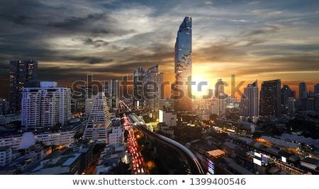 Bangkok · belváros · alkonyat · légifelvétel · épület · iroda - stock fotó © smithore