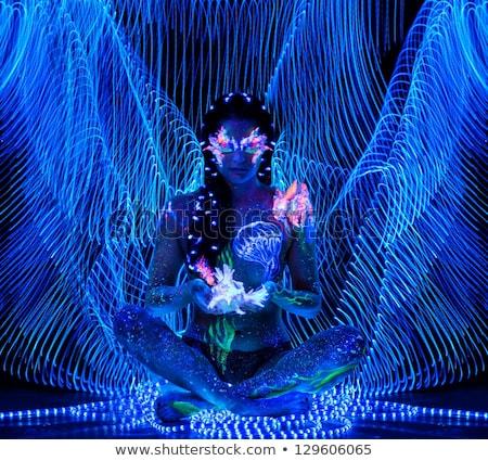 gyönyörű · nő · testművészet · izzó · ultraibolya · fény - stock fotó © nejron