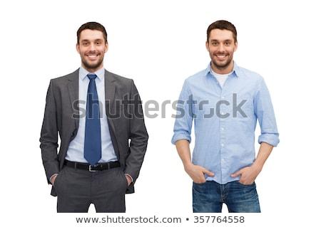 小さな ビジネスマン 孤立した 白 幸せ 手 ストックフォト © stockyimages