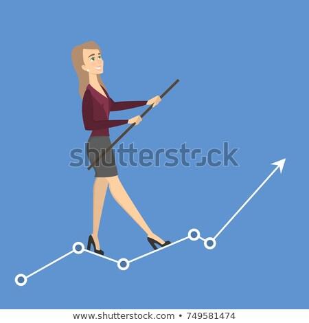 empresária · equilíbrio · corda · esticada · montanha · terno · caminhada - foto stock © dgilder