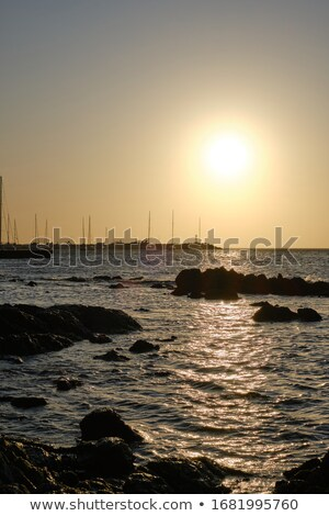 Evening sea behind a shoreline rock Stock photo © Mps197