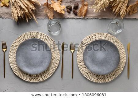 ストックフォト: 秋 · 場所 · 素朴な · 表 · 装飾された · 葉