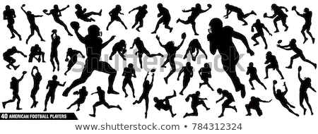 American football player silhouettes in action. Vector illustrat Stock photo © leonido