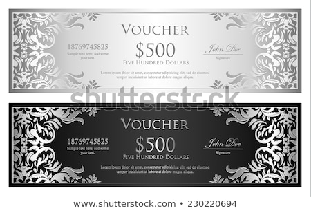 Silver and black voucher with victorian pattern Stock photo © liliwhite
