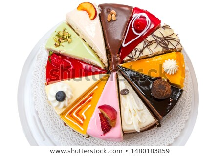 Twelve different pieces of cake on a plate stock photo © fresh_4870785
