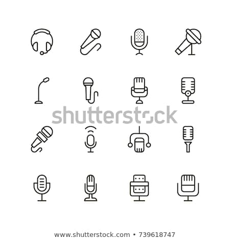 micro · knop · icon · glanzend · ontwerp · contact - stockfoto © nickylarson974