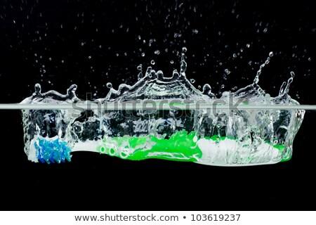 yalıtılmış · mavi · diş · fırçası · siyah · tıp · ağız - stok fotoğraf © njnightsky