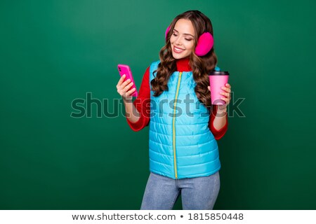 red coffee cup on a jeans background stock photo © anna_leni