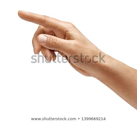 Man hand wijzend iets foto scherm Stockfoto © dolgachov
