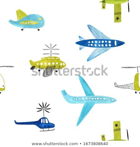 Kicsi repülőgép repülőtér fű repülőgép hát Stock fotó © jarin13