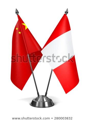 Kína Peru miniatűr zászlók izolált fehér Stock fotó © tashatuvango