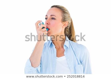 довольно блондинка астма белый женщину здоровья Сток-фото © wavebreak_media