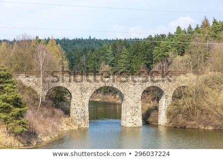 Chemin de fer République tchèque pont rivière architecture extérieur Photo stock © phbcz