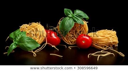 Groep drie ruw pasta zwarte Stockfoto © dla4