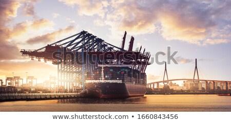 Grande carga navio porta-contentores hamburgo porto detalhes Foto stock © vladacanon