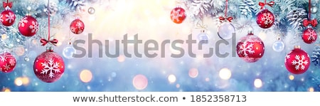 Christmas ball and green spruce branch on a blue background Stock photo © Valeriy