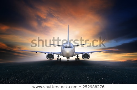 passenger business airplane take off and flying in blue sky use stock photo © frameangel