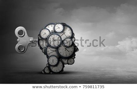 Сток-фото: человека · креативность · увеличительное · стекло · голову · профиль