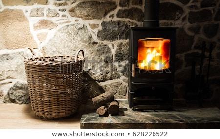 Fából készült tűzhely láng közelkép kilátás Stock fotó © cherezoff