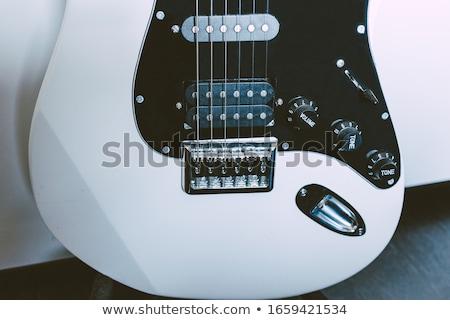 электрической гитаре черный электрических инструмент изолированный Сток-фото © Bigalbaloo