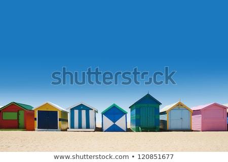 plaj · kulübe · ahşap · kulübe · su · manzara · kum - stok fotoğraf © ivonnewierink
