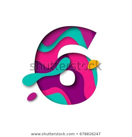 Zahl violett Vektor Symbol Design digitalen Stock foto © rizwanali3d